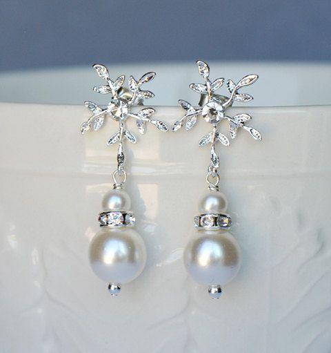Bridal Earring Wedding Earring Rhinestone Earring Crystal Pearl