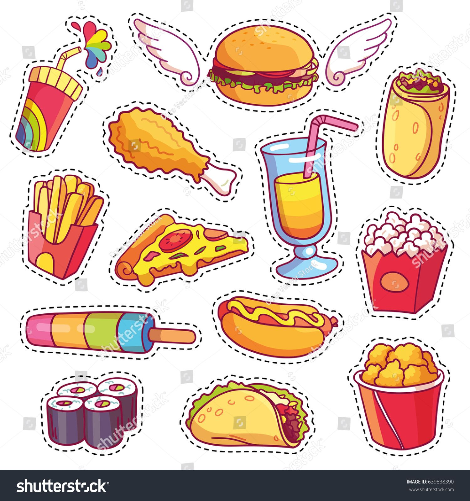 Cool Cartoon Set Fast Food Patch Stock Vector (Royalty Free) 639838390