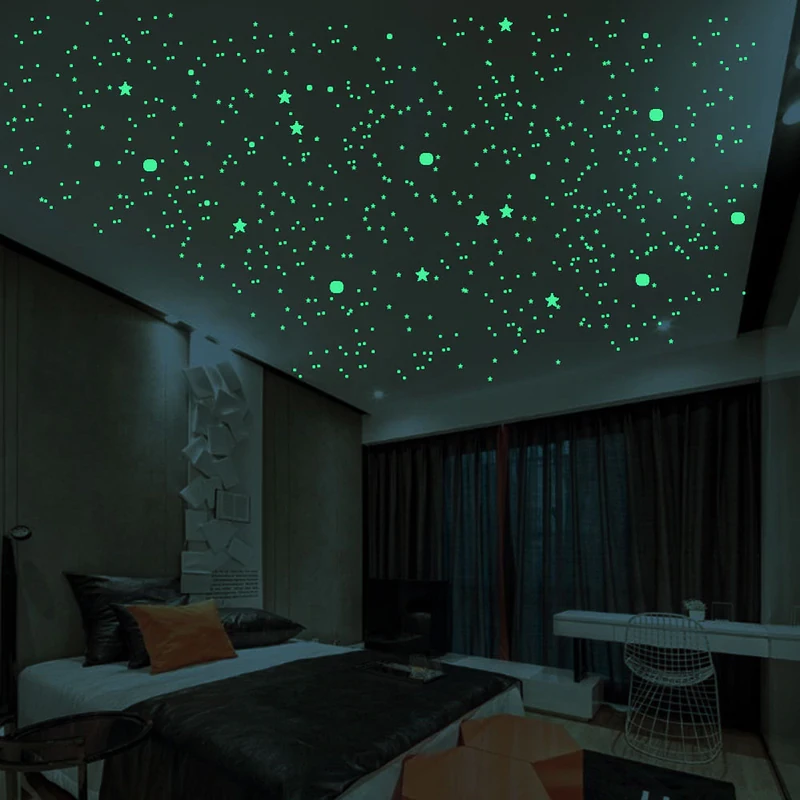 Glow In The Dark 3d Stars Luminous Ceiling Starry Night Sky Fluorescent Wall Ceiling Stickers For Kids Room 200pcs Pack In 2020 Kids Room Wall Decor Starry Night Bedroom Childrens