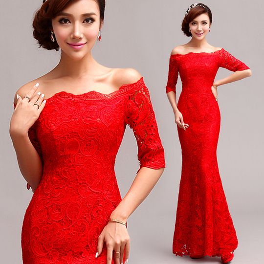 Full lace strapless gown long sleeves Chinese style red bridal wedding dress 001