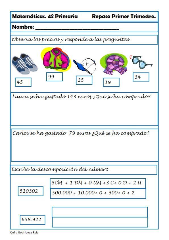 Matemáticas. Fichas para cuarto de primaria   Pinterest   El aula ...