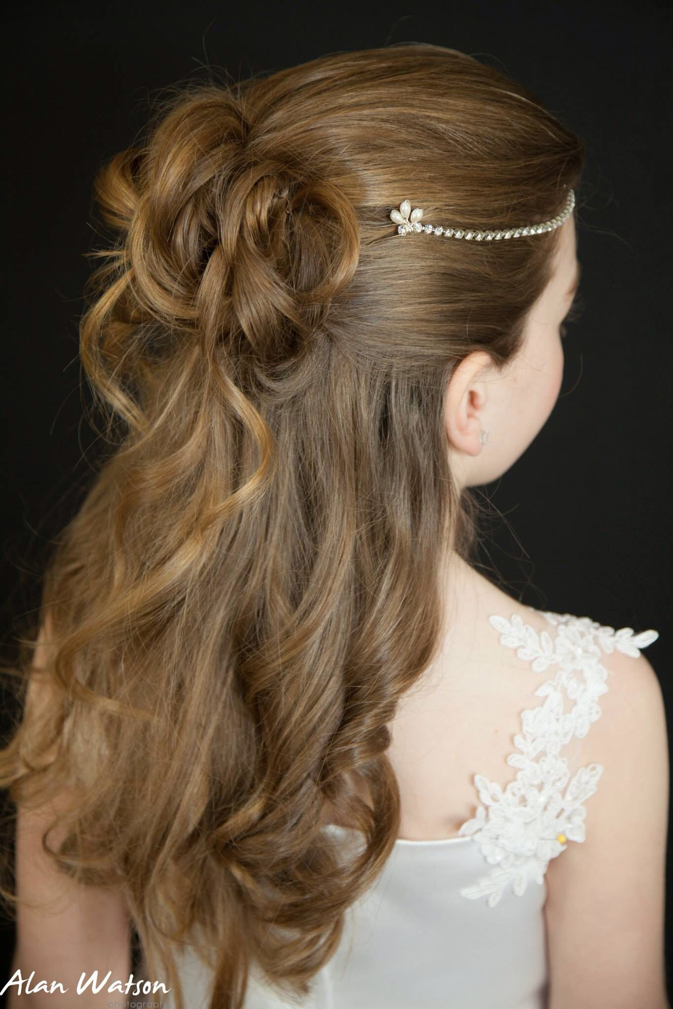 Rhinestone browband first holy munion flower girl hair accessory luxury
