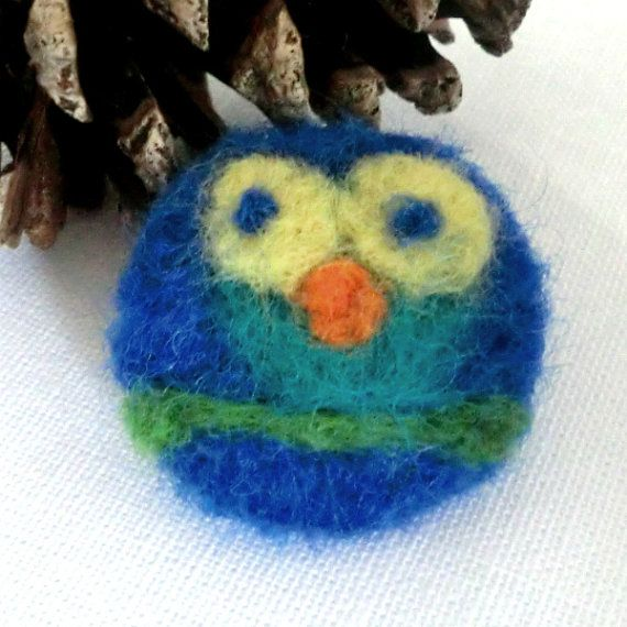 Needle Felted Owl Brooch Badge by 78HappinessPlace on Etsy, £4.00