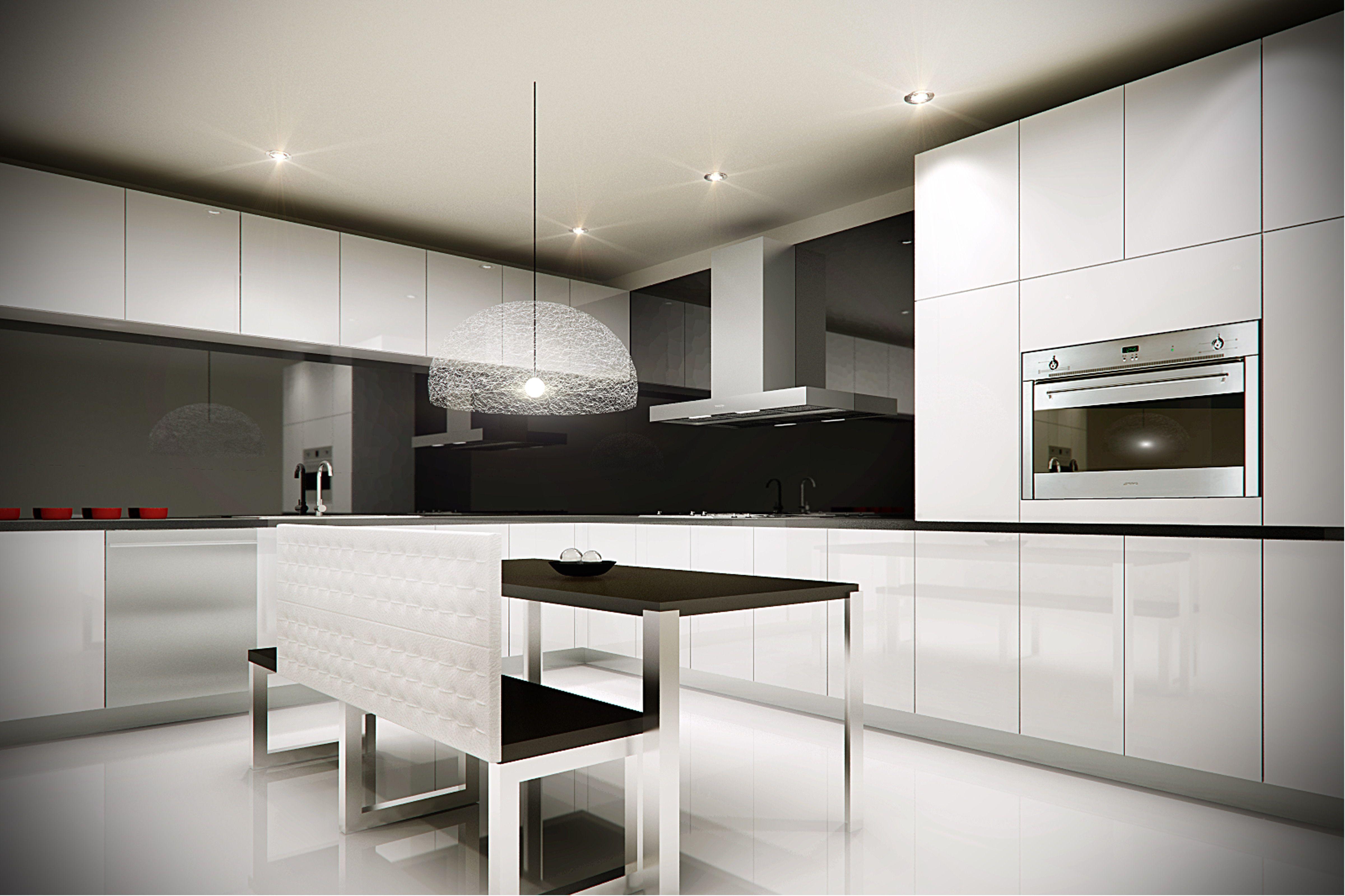 Cocina minimalista horno de gas y campana smeg cocinas - Campanas de cocina modernas ...