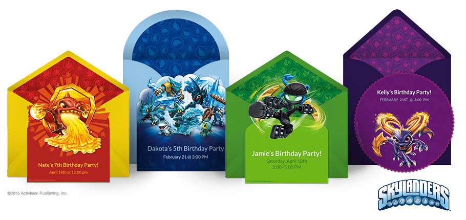 Send Skylanders Online Invitations Starring Jet Vac Eruptor Spyro Cynder Stealth Elf And All Your Favorite Characters Looks Like Real Stationery