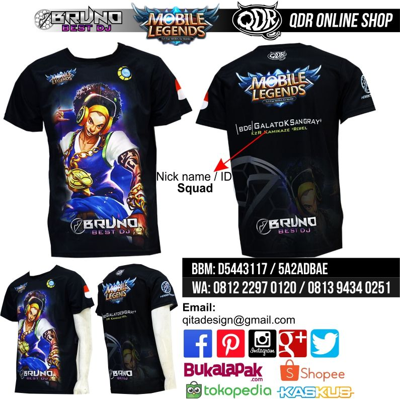 Bruno Best Dj T Shirt Mobile Legends Bahan Dry Fit