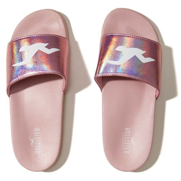 buy popular 4dddf ee20a Hollister Iridescent Logo Slides (9.98) ❤ liked on Polyvore featuring  shoes, slides, pink with shine, shiny shoes, iridescent shoes, logo shoes,  pink ...
