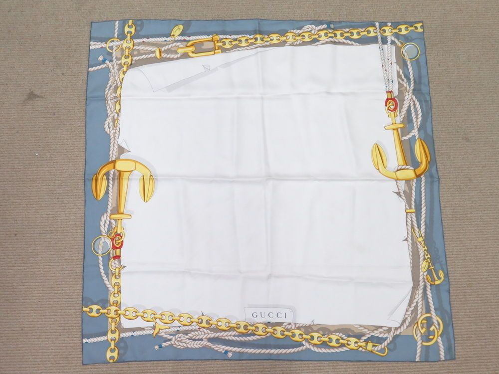 design di qualità 2bf1a 8191e Gucci Nautical Anchor & Rope Pattern Foulard Scarf White ...