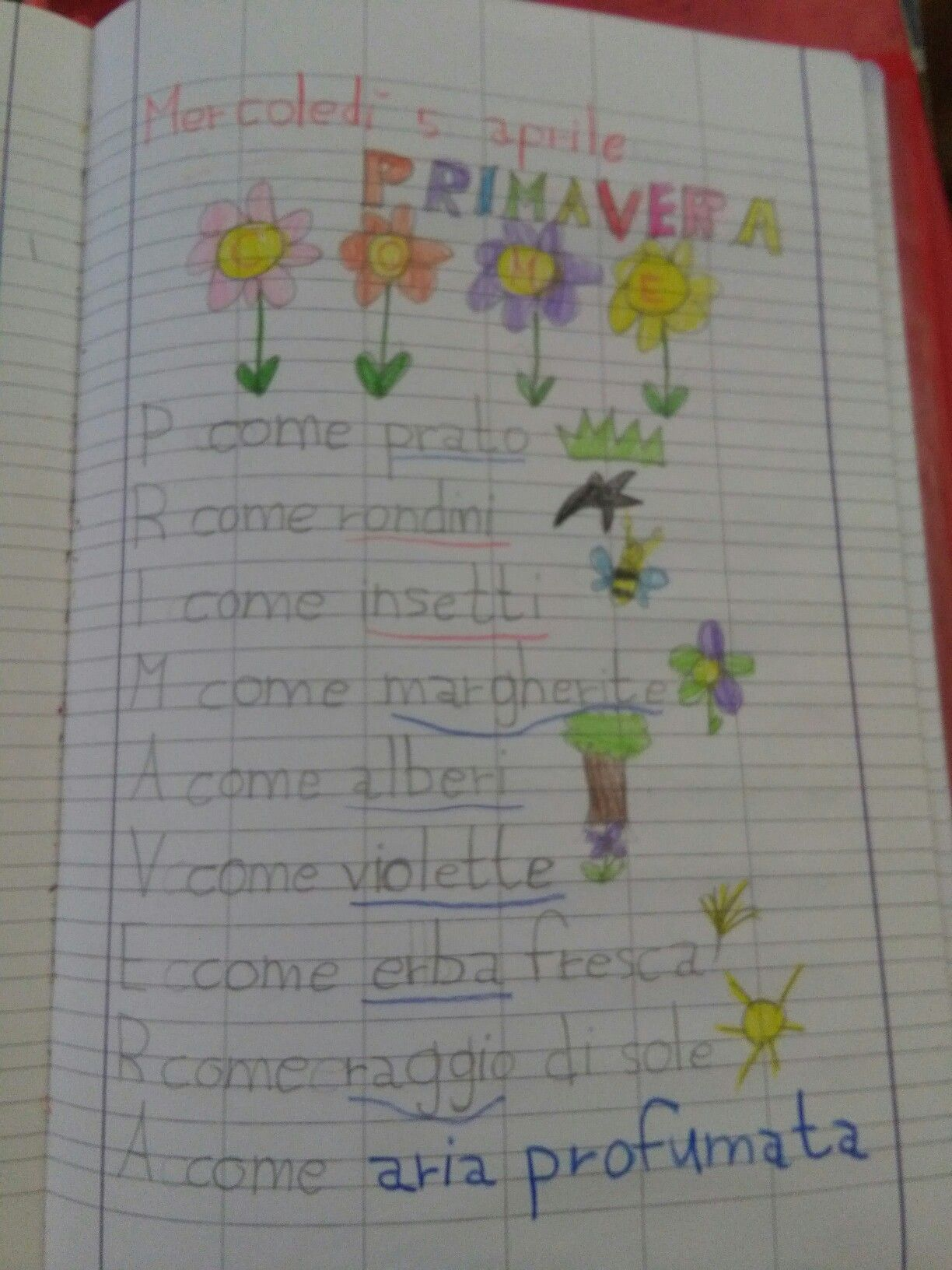 Acrostico Primavera Francesca School Education E Pre School