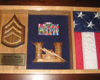 US Army Shadow Box - customizable & unique! Handcrafted from hardwoods!