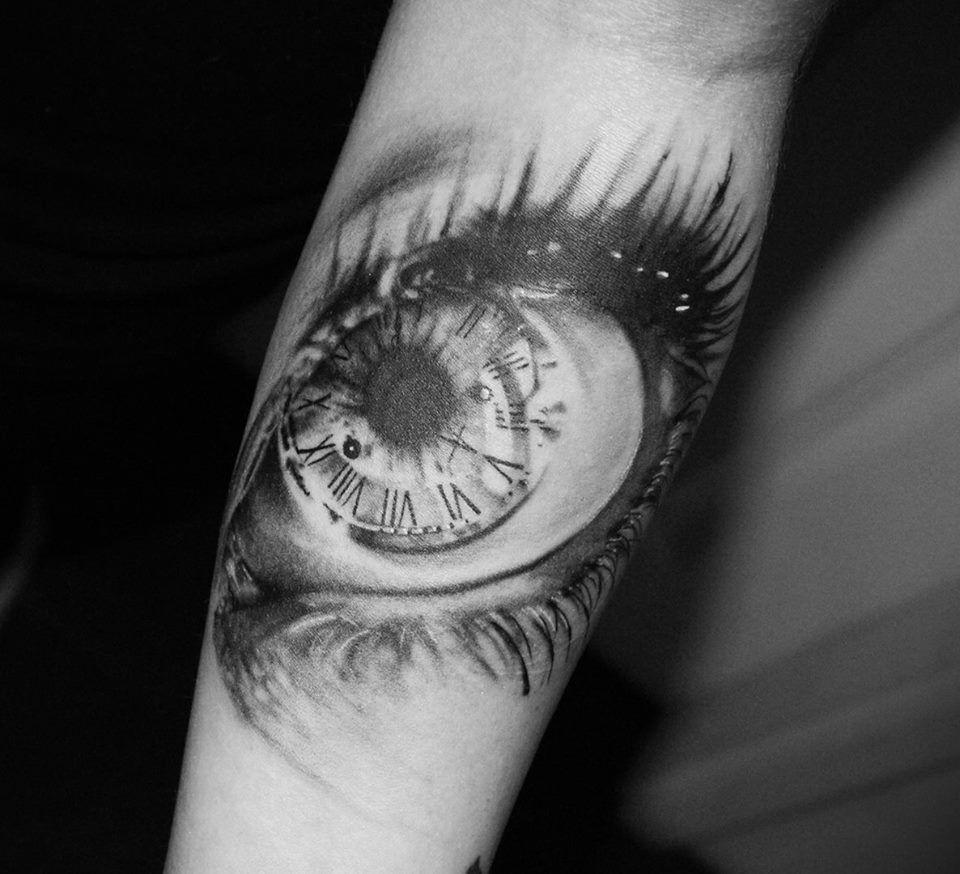 Eye And Multiple Clock Tattoo: Clock Eye Tattoo