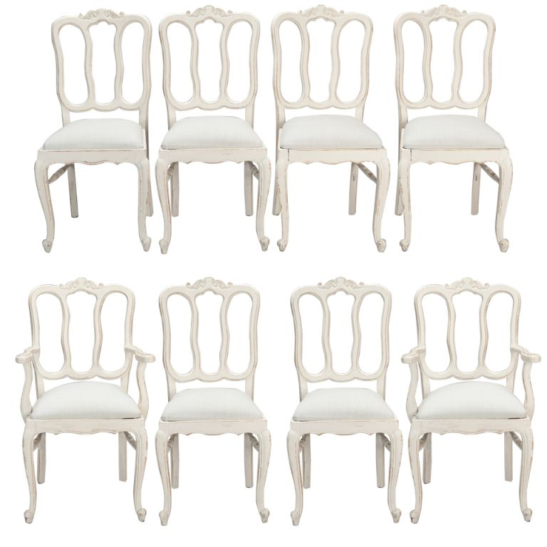 Set Of Eight French White Painted Open Back Dining Chairs | From A Unique  Collection Of