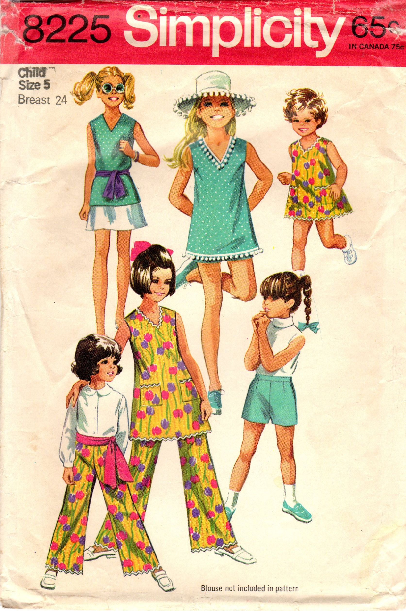 1960s Simplicity 8225 Vintage Sewing Pattern Girls Dress, Top, Skirt ...
