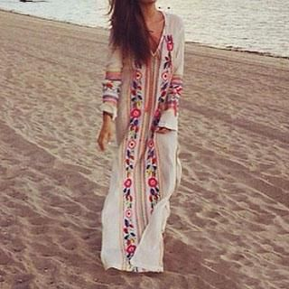 Buy Amella Long-Sleeve Embroidered Maxi Dress at YesStyle.com! Quality  products at remarkable prices. FREE WORLDWIDE SHIPPING on orders over US$  35.