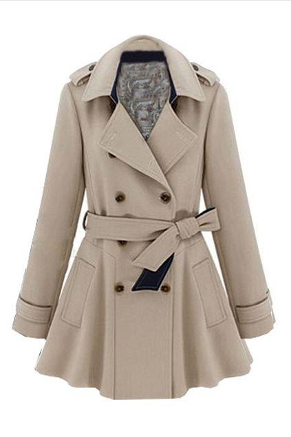 3c938863736 Lapel Double Breasted Slim Trench Coat  Khaki  Navy  Blue  Trim   Trench Coat  Fashion