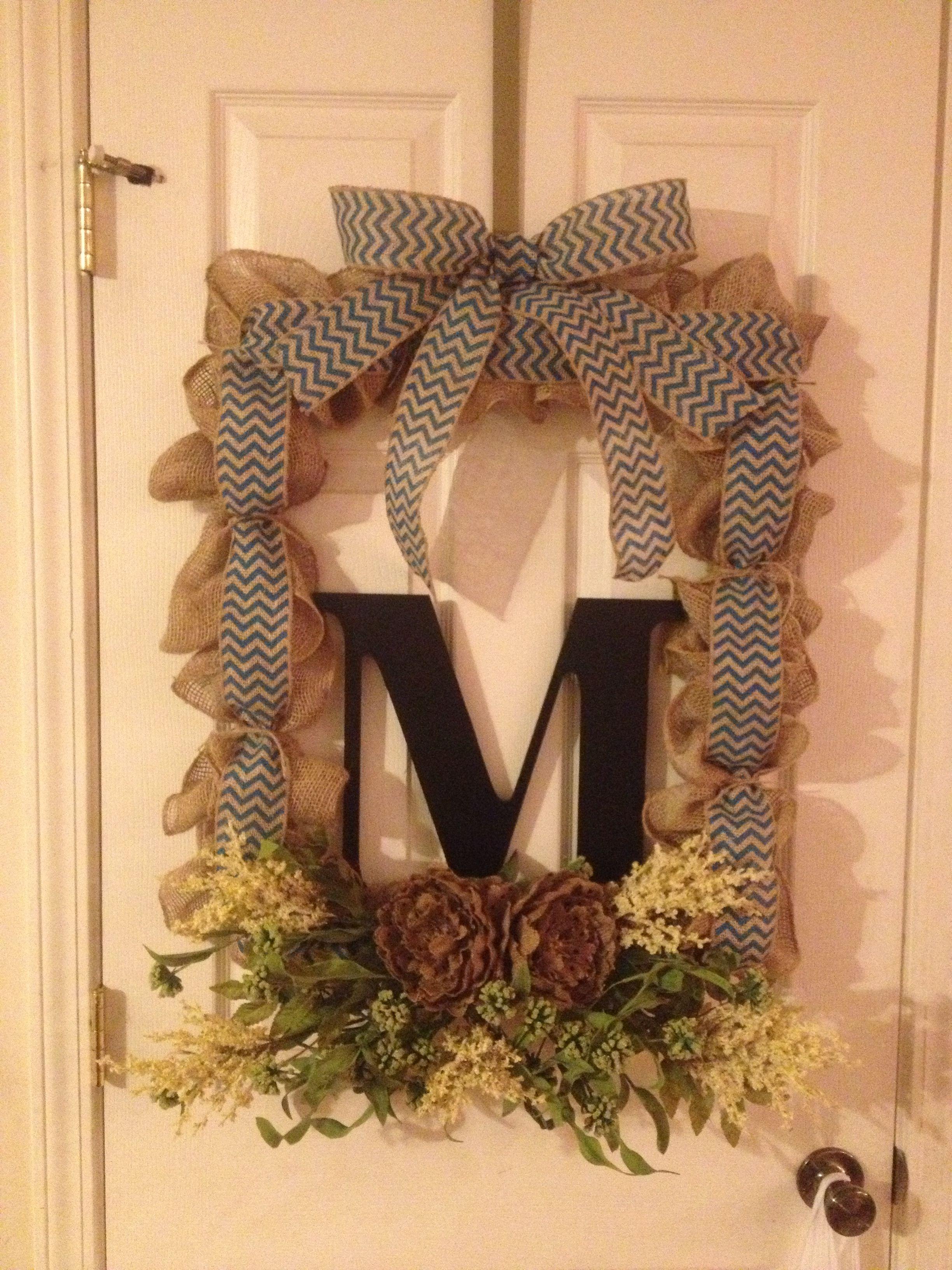 Burlap wreath using square frame and initial Wreath