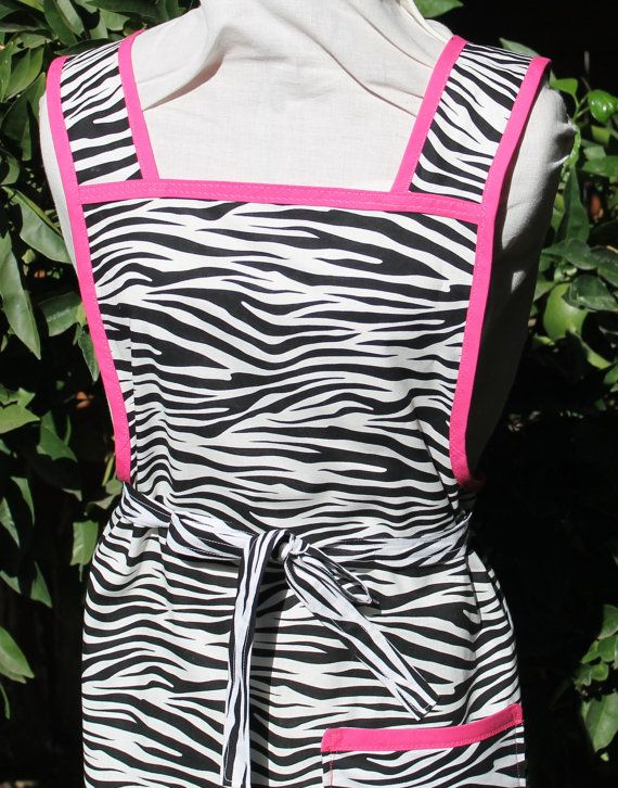 Zebra Stripes and Hot Pink  Retro Style Apron by patriciasquilting, $30.00