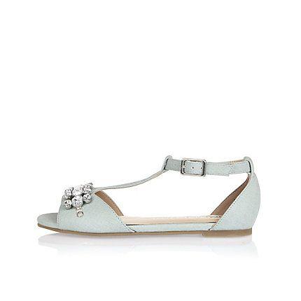 0844d77166bd Girls blue gem embellished T-bar sandals £20.00