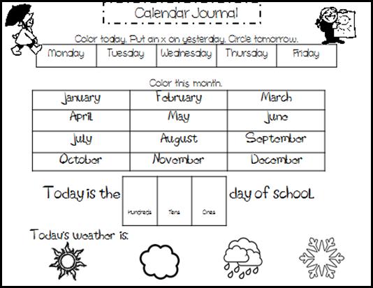 Calendar Activities For Kindergarten Students : Kreative in kindergarten calendar journal with different