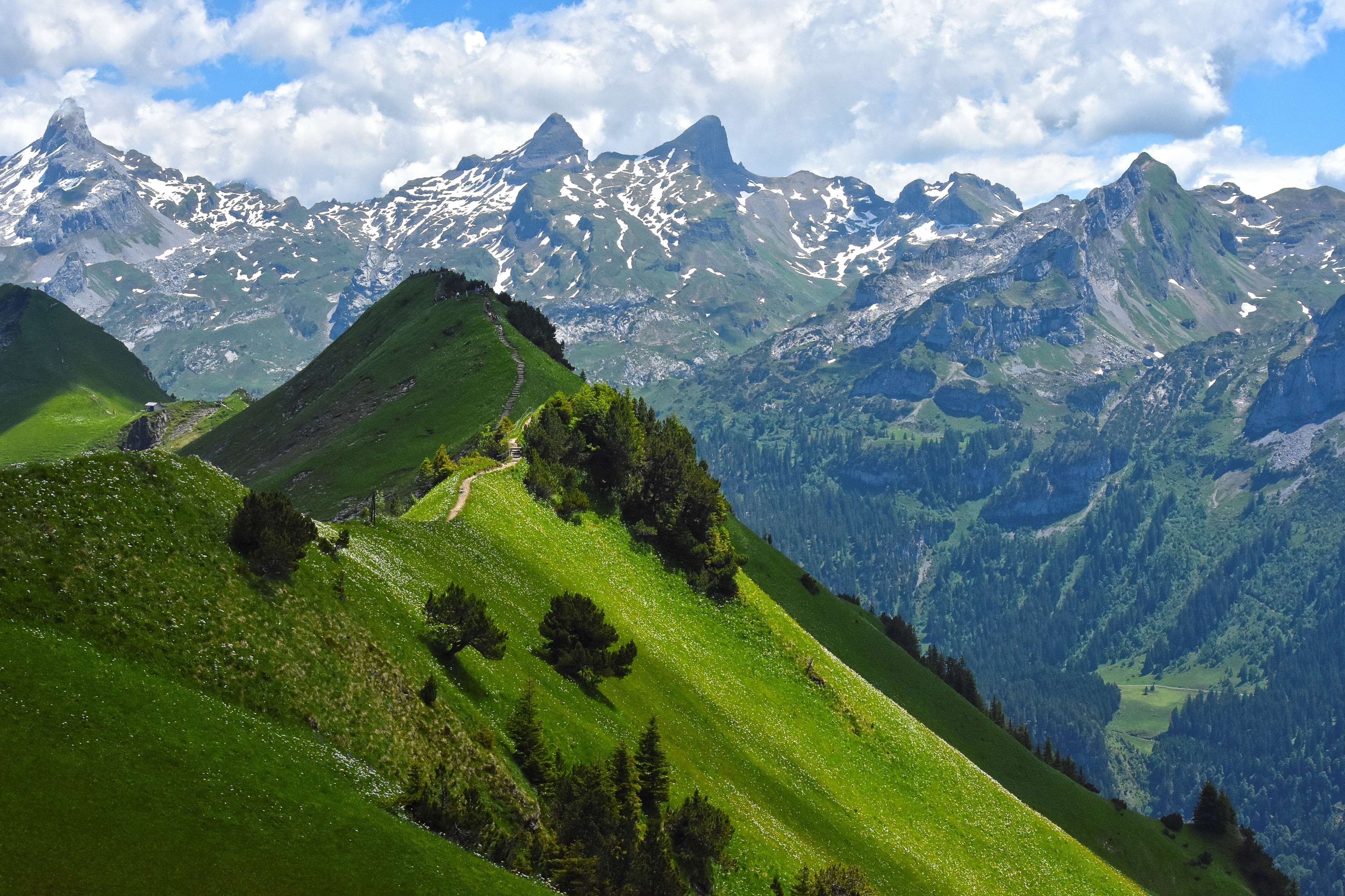 Green Mountains In Switzerland By Hansiphoto Scenery Pictures Scenery Mountains