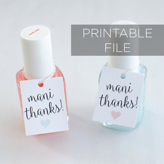 Printable Mani Thanks tags, Nail Polish Favor Tags Printable, Custom ...
