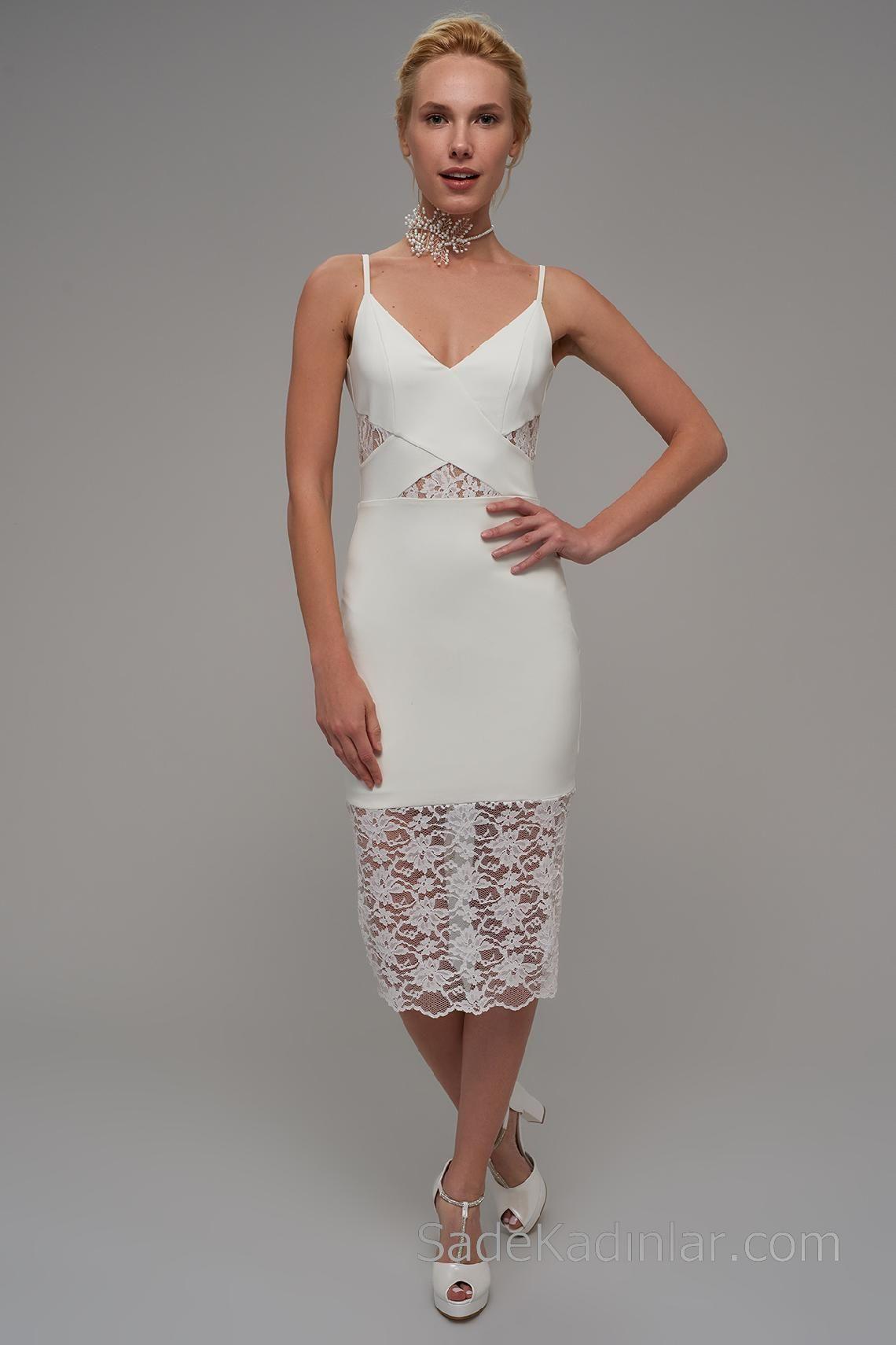 2020 Abiye Elbiseler Beyaz Kisa Askili Dantel Detayli Elbiseler The Dress Elbise Modelleri