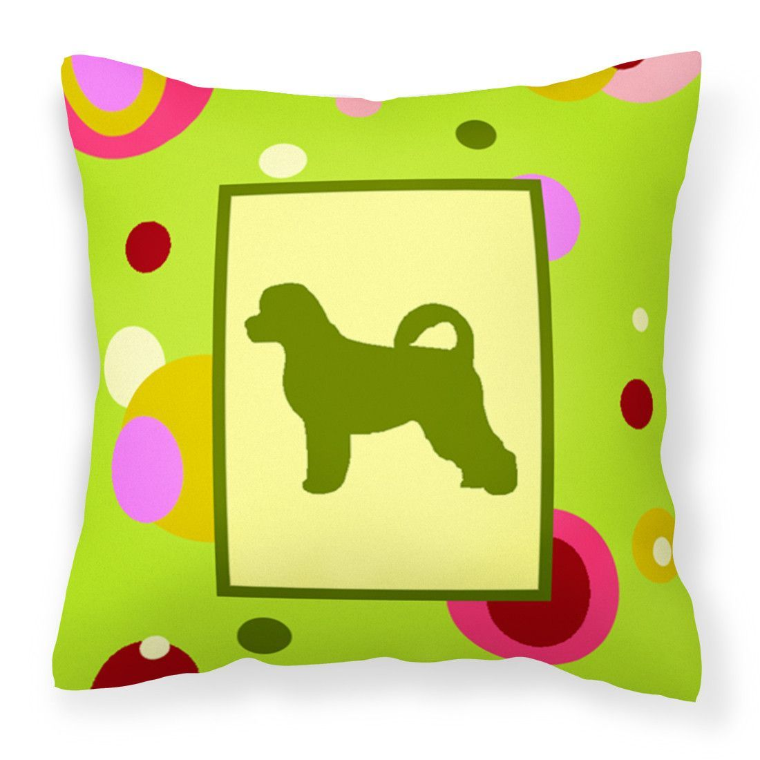 Lime Green Dots Portuguese Water Dog Fabric Decorative Pillow CK1090PW1414