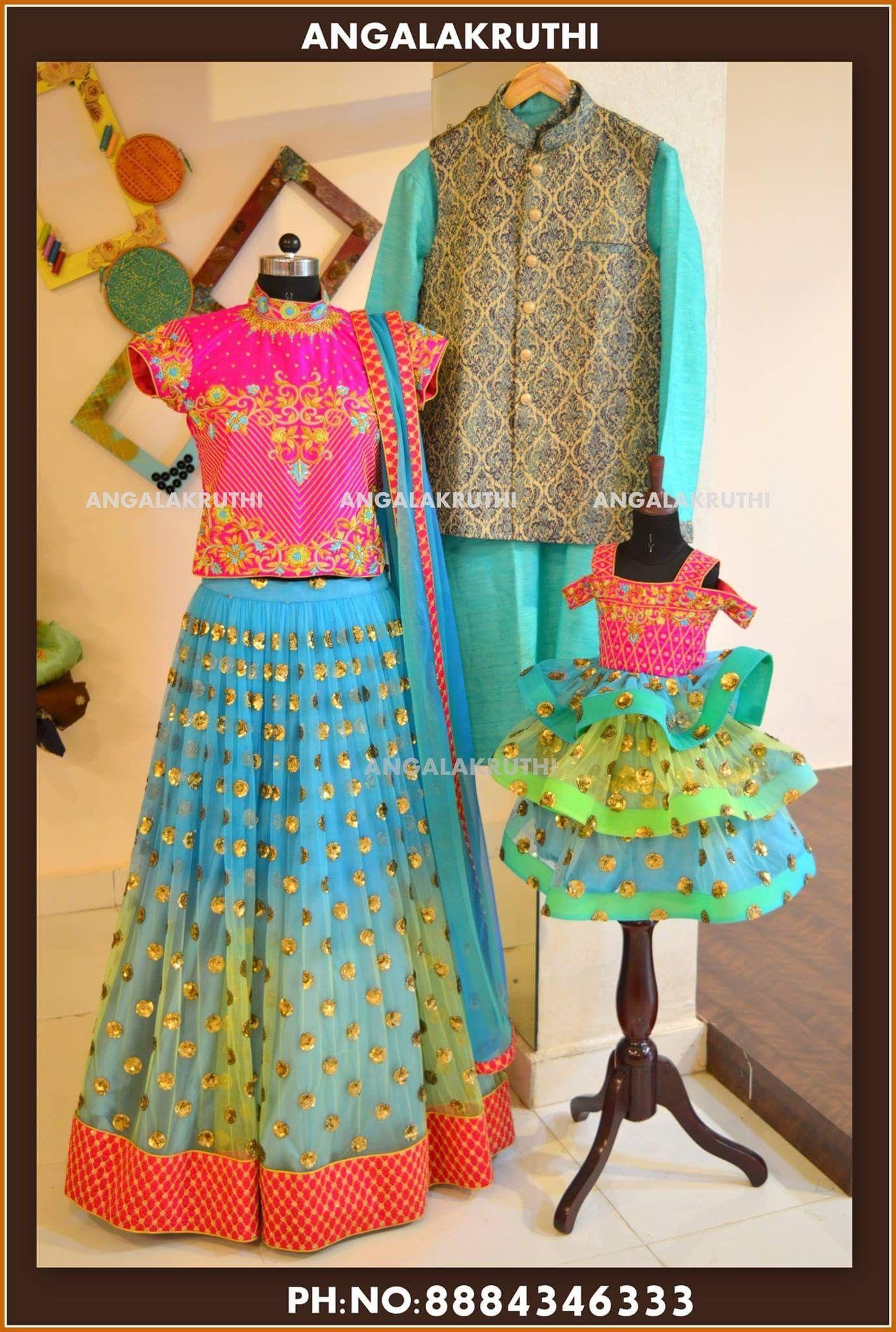 f04a775e99 Family matching dress designs by Angalakruthi boutique Bangalore  Watsapp:+91-8884347333 #mother