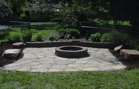Nice Flagstone Fire Pit Pictures | Flagstone Patio With Fire Pit | Progressive  Lawnscaping