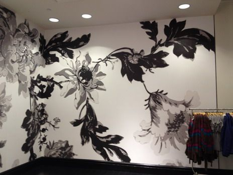 black and white wall painting flowers - Wall Painted Designs