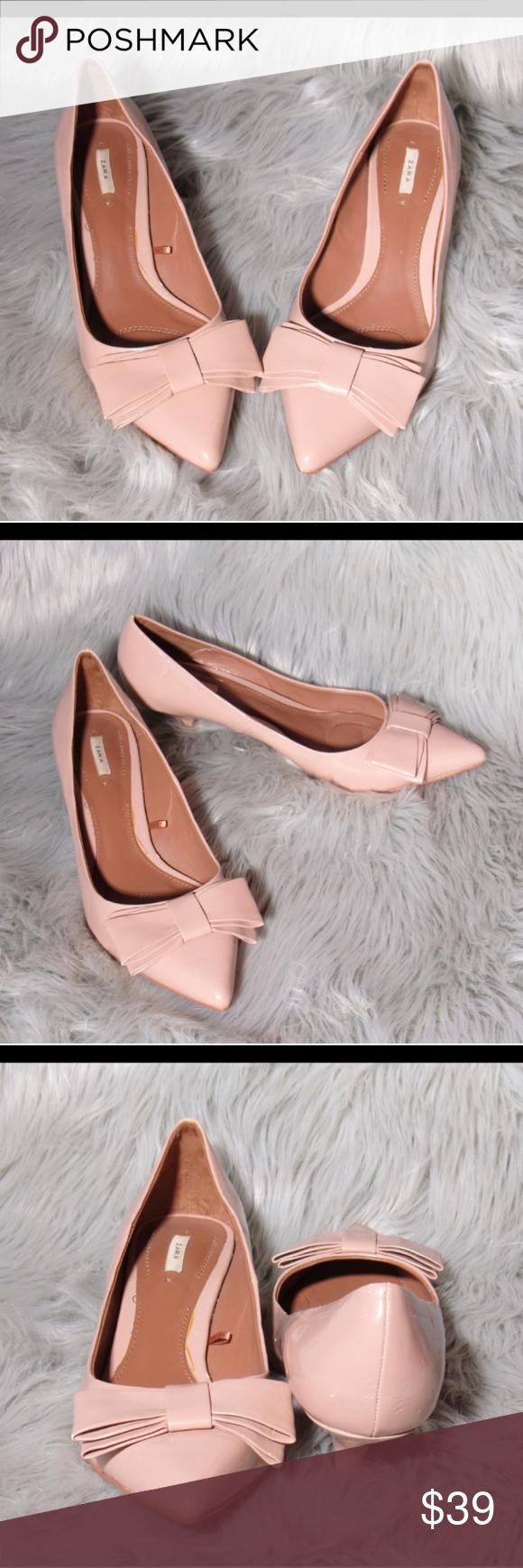 Zara Pale Pink Kitten Heel Shoes Size 8 Kitten Heels Kitten Heel Shoes Pink Kitten Heels