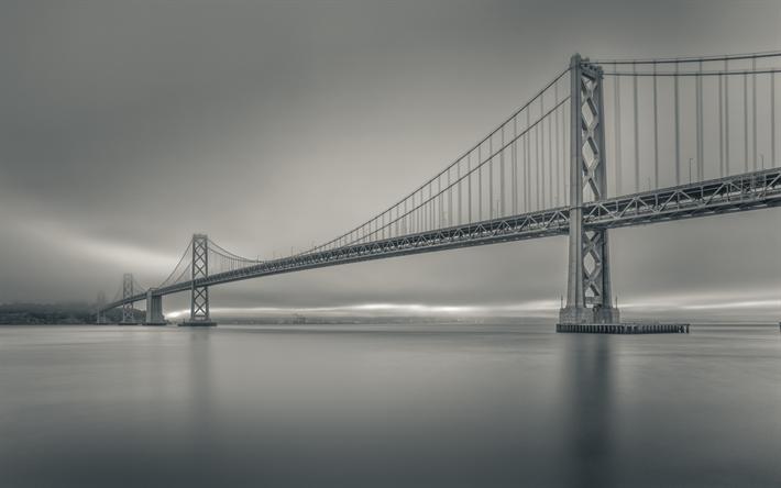 Download Wallpapers Bay Bridge Morning Sunrise Black And White Photo Monochrome San Francisco Oakland Usa Besthqwallpapers Com Bay Bridge Photo Monochrome