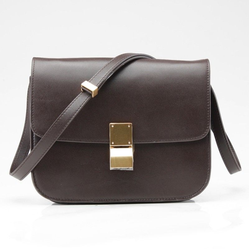 50f3add8a837 Celine Bag Celine Clasp Classic Box Medium Bag Dark Brown