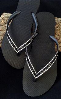 c9b26003c5fc7a Sophisticate Havaianas Slim Jet Black Swarovski Bling Crystal Flip Flops US Rhinestone  Sandals Shoes