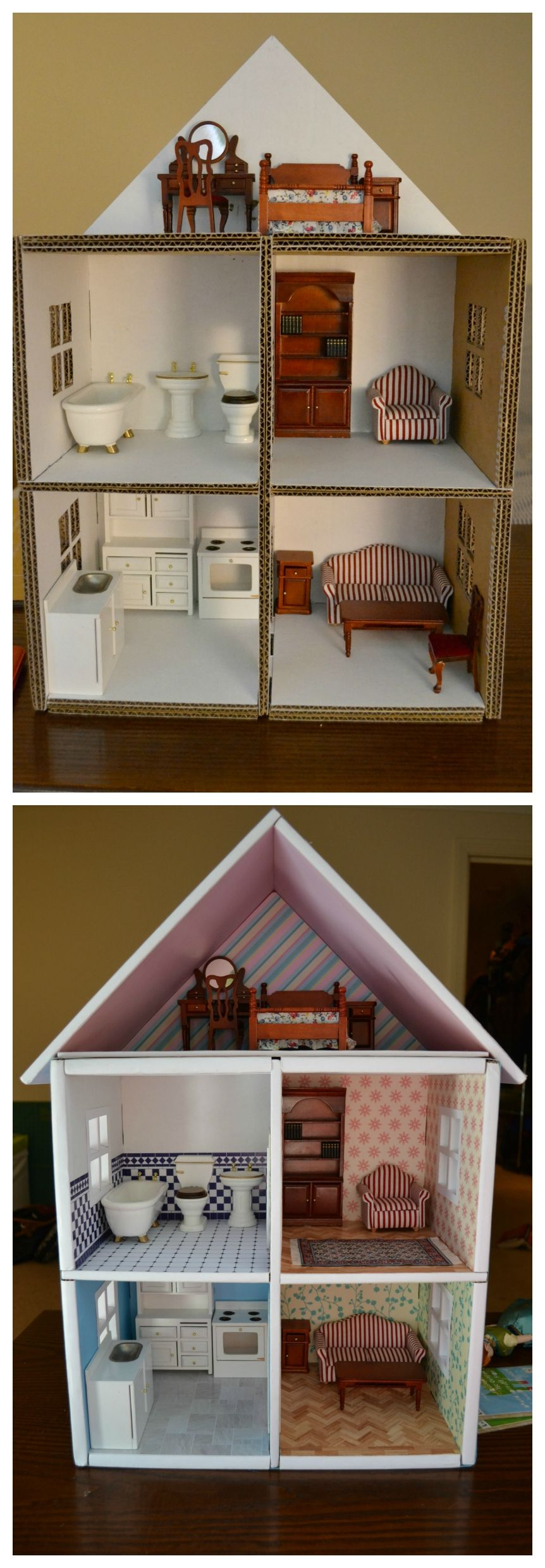 diy dollhouse made from cardboard boxes baby pinterest puppen diy puppenhaus und barbie haus. Black Bedroom Furniture Sets. Home Design Ideas