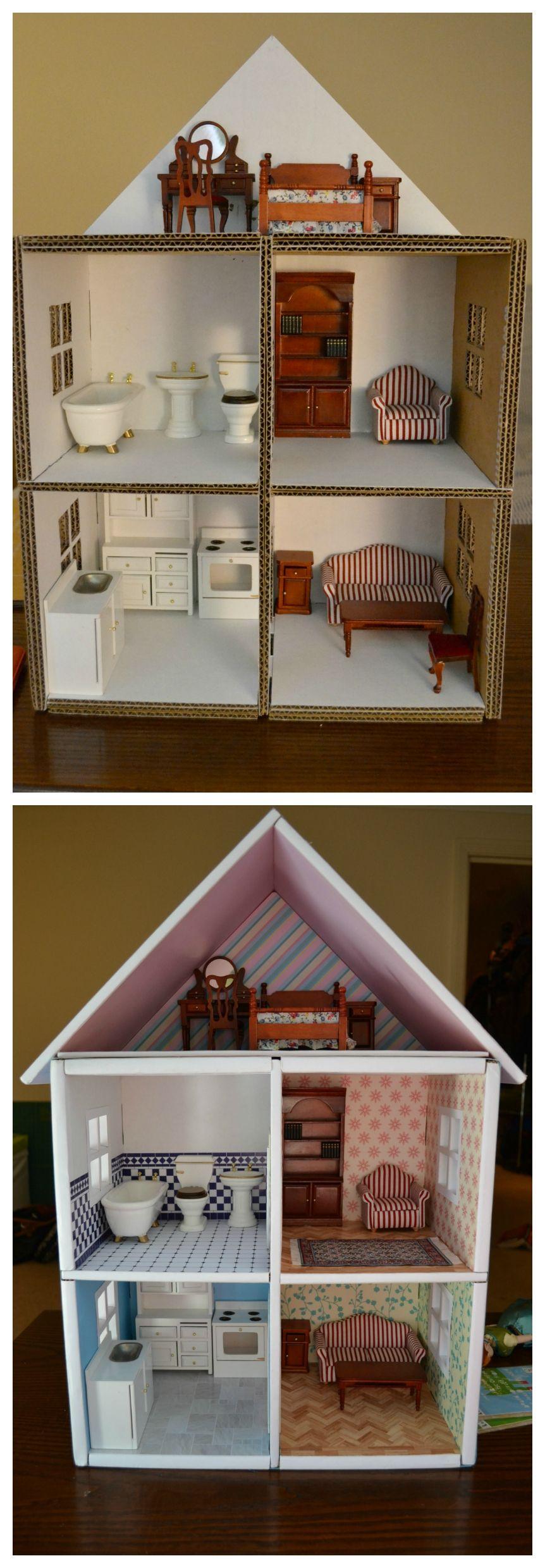 diy dollhouse made from cardboard boxes baby pinterest puppen diy puppenhaus und barbie haus. Black Bedroom Furniture Sets. Home Design Ideas