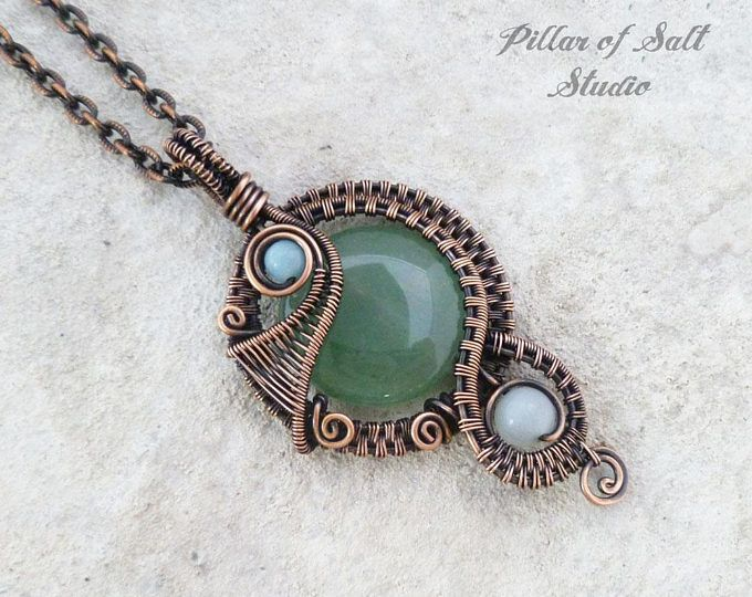 Wire wrapped pendant necklace / Wire Wrapped jewelry handmade / Copper wire jewelry / woven wire pendant / green Aventurine gemstone