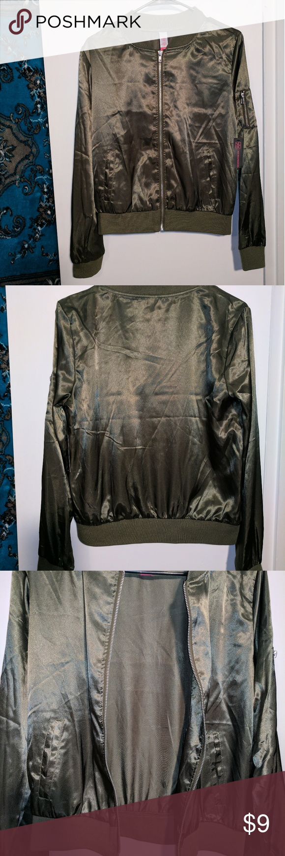 NWT lightweight Bomber jacket Army green M Boutique Army