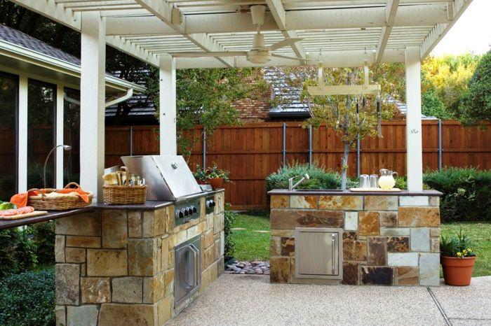 Küchenschränke Materialien Für Outdoor Küchen | Grillplatz ... Gestaltungsideen Fur Den Outdoor Bereich
