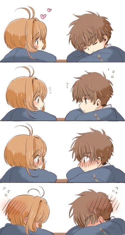 Sakura and Syaoran being really cute together lol - #cute #lol #sakura #Syaoran