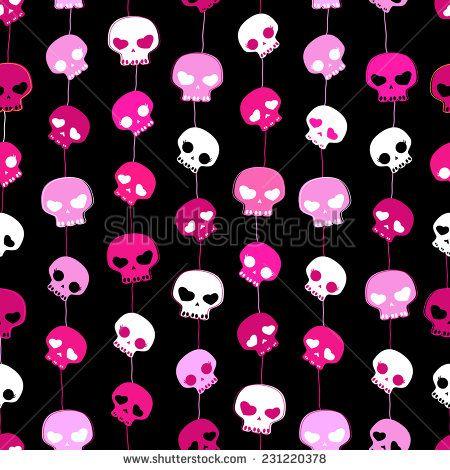Girlish Aggressive Cute Black And Pink Skulls Seamless Pattern