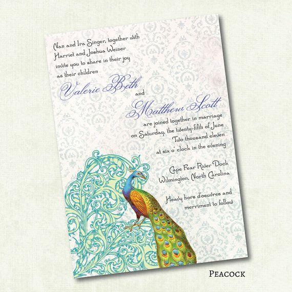 20 Vintage Peacock Wedding Invitations  by valie520, $35.00