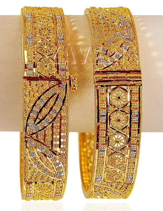 22K Gold 2 Tone Kada (2PC)   gold bangles   Pinterest   Gold ...