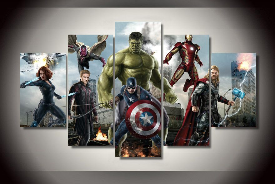 5 Panels Avengers Framed Poster Print Canvas Art Multi Piece Avengers Painting Marvel Canvas Canvas Wall Art Set