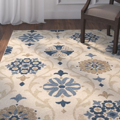 Darby Home Co Dubuque Ivory Blue Indoor Outdoor Area Rug Rug Size 5 2 X 7 6 Indoor Outdoor Area Rugs Area Rugs Rugs