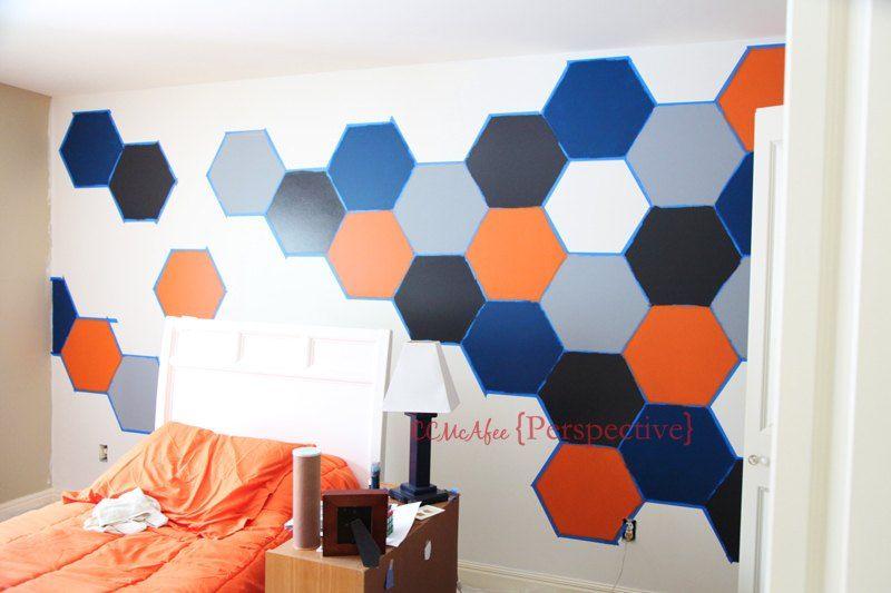 How To Paint A Tween Boy Room Hexagon Accent Wall Diy Boy Room Paint Bedroom Wall Designs Diy Wall Decor For Bedroom