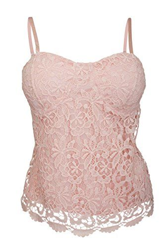 0274e84fb94 eVogues Plus Size Floral Lace Bustier Crop Bralette Top Pink 1X    Visit  the image link more details. Note It is affiliate link to Amazon.