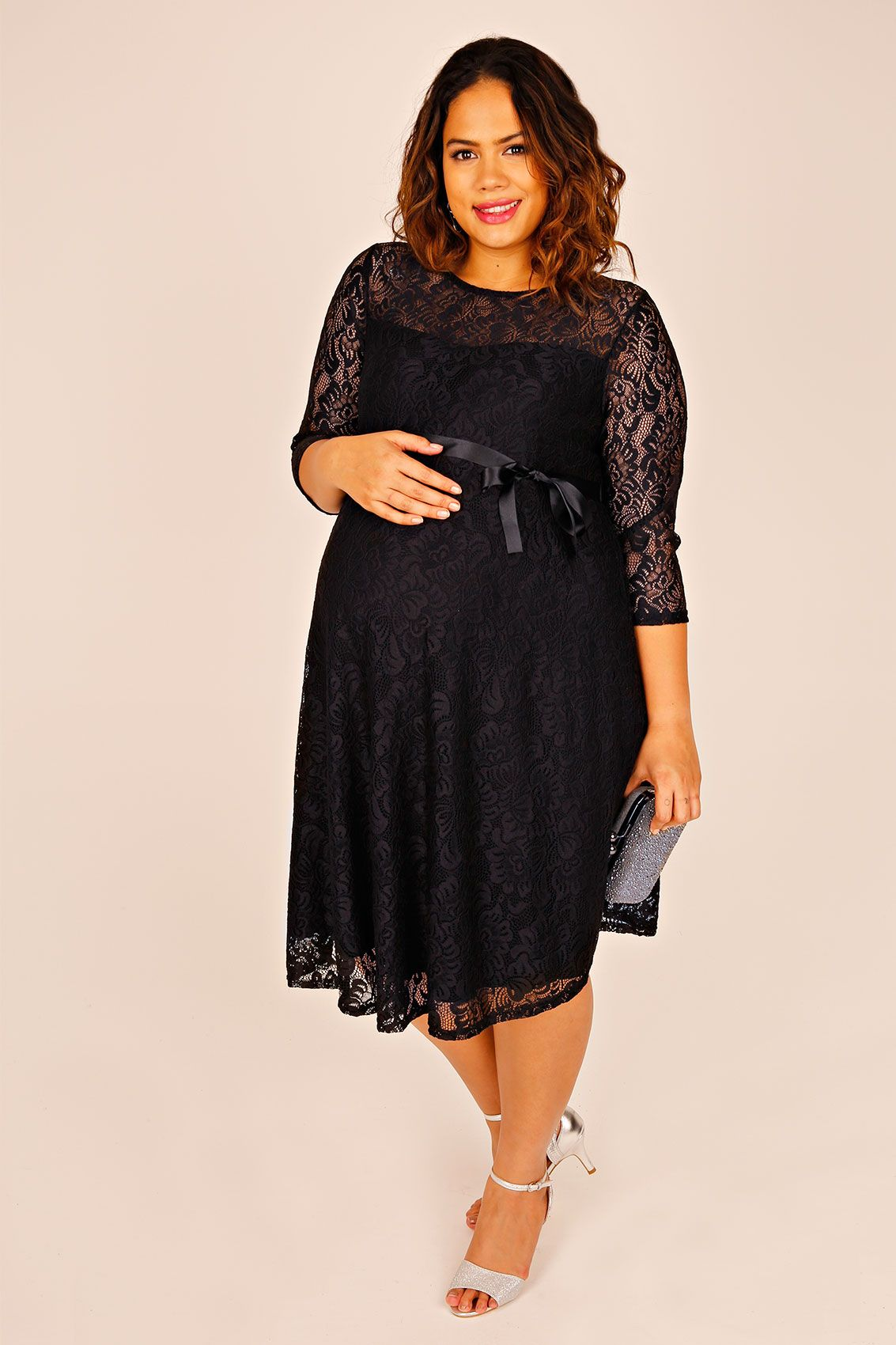 61c3f201f6007 BUMP IT UP MATERNITY Black Lace Sleeved Skater Dress With Ribbon Tie
