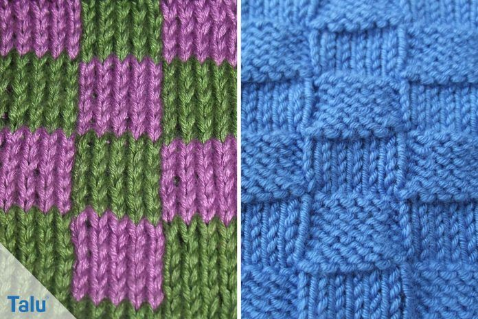 Start Handicrafts Knitting A Checkerboard Pattern One And Two