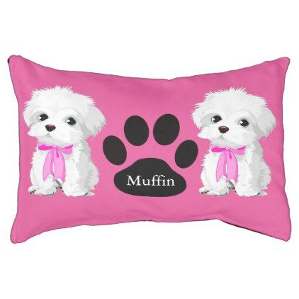 #Trendy Maltese Dog with Pink Bow Monogram Pet Bed - #maltese #puppy #dog #dogs #pet #pets #cute